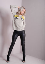 Knitted 3D Blush Eye Jumper Beige