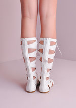 Lace Up Gladiator Sandals White