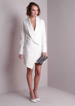 Long Sleeve Deep Plunge Tuxedo Dress White