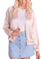 MA-1 Satin Zip Up Bomber Jacket Pink