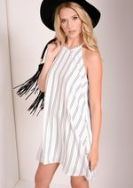 Macey White Stripe Swing Dress