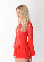 Marnie 70's Boho Lace Insert Playsuit Red