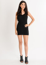 Mila Ribbed Bodycon Dress Black