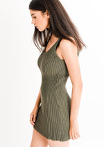 Mila Ribbed Bodycon Dress Khaki