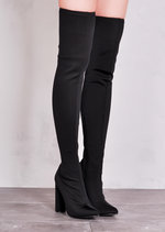 Over the Knee Long Boots in Strechy Lycra Black