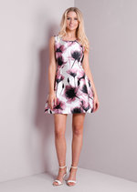 Pink Floral Print Fit and Flare Skater Dress White