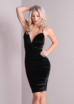 Plunge Neck Cross Strap Velvet Bodycon Dress Black