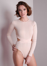 Ribbed Cut Out Bodysuit Dusty Pink