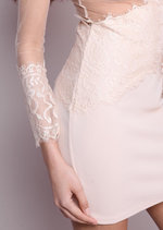 Sheer Lace Detail Long Sleeved Bodycon Nude
