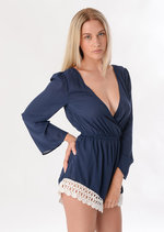 Sherri Crochet Trim Playsuit Blue
