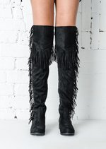 Tassel Over The Knee Thigh High Long Boots Black