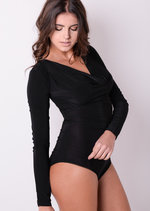 Slinky Cowl Neck Full Sleeve Bodysuit Black