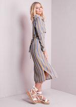 Striped Split Side Belted Maxi Shirt Dress