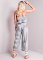 Striped Strappy Waist Tie Jumpsuit