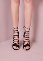 Suede Rope Lace Up Heels Black