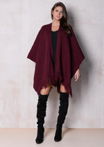 Throw On Fringed Knitted Cape Burgundy