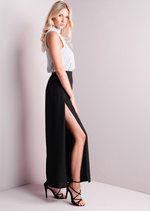 Wide Leg Side Split Trousers Black