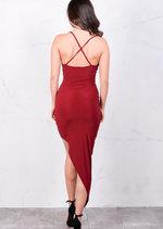 Asymmetric Wrap Front V Neck Bodycon Mini Dress Red