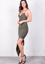Asymmetric Wrap Front V Neck Bodycon Mini Dress Khaki