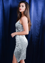 Asymmetric Wrap Plunge Neck Crushed Velvet Bodycon Dress Silver Grey