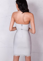 Bandage Lace Bust and Hem Detail Bodycon Dress Grey