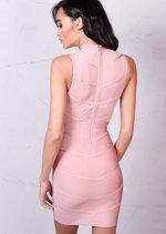 Bandage Mesh Chevron Detail High Neck Bodycon Dress Rose Pink