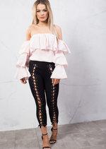 Bardot Ruffle Bell Sleeve Shirt Top Pink