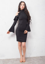 Bell Sleeve Frill Cold Shoulder Bardot High Neck Bodycon Dress Black