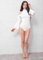 Bell Sleeve Frill Cold Shoulder Bardot High Neck Bodysuit White