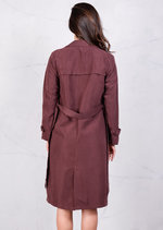 Soft Touch Lightweight Belted Waterfall Trench Coat Plum Purple Jacket