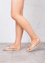BowEspadrilles Sliders Slippers Metallic Rose Gold