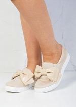 Bow Faux Suede Slip On Sneaker Pumps Beige
