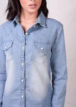 Classic Fitted Denim Shirt Light Blue