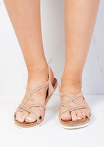 Cleated Strappy Diamante Embellished Sandals Rose Gold