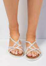 Cleated Strappy Silver Diamante Embellished Sandals White