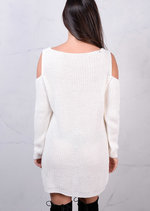 Cold Shoulder Chunky Knit Long Sleeve Jumper Dress Cream White