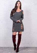 Cold Shoulder Chunky Knit Long Sleeve Distressed Jumper Dress Grey