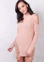 Cold Shoulder Chunky Knit Long Sleeve Jumper Dress Pink