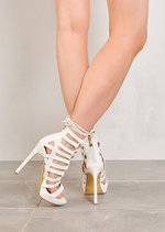 Cut Out Lace Up Open Toe Faux Suede Heels White