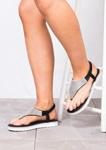 Diamante Embellished Sandals Black