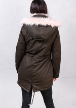 Dusty Pink Faux Fur Hooded Full Fleece Parka Coat Khaki Green