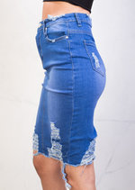 Extreme Ripped Midi Bodycon Denim Skirt Bright Blue