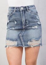 Extreme Ripped Mini Bodycon Denim Skirt Blue