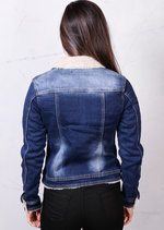 Faux Shearling Sherpa Denim Trucker Jacket Blue