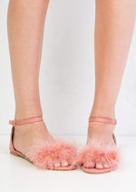 Feather Peep Toe Flat Sandals Pink