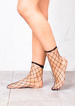 Fishnet Diamond Ankle Socks Black