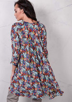 Floaty Floral Shirt Boho Dip Hem Summer DressBlue