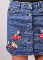 Floral Embroidered Button Up Mini Denim SkirtMid Blue