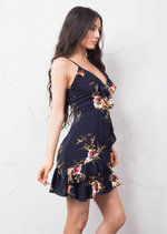 Floral Frill Wrap Dress Navy Blue
