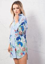 Floral Print Pin Stripe Long Shirt Top Blue